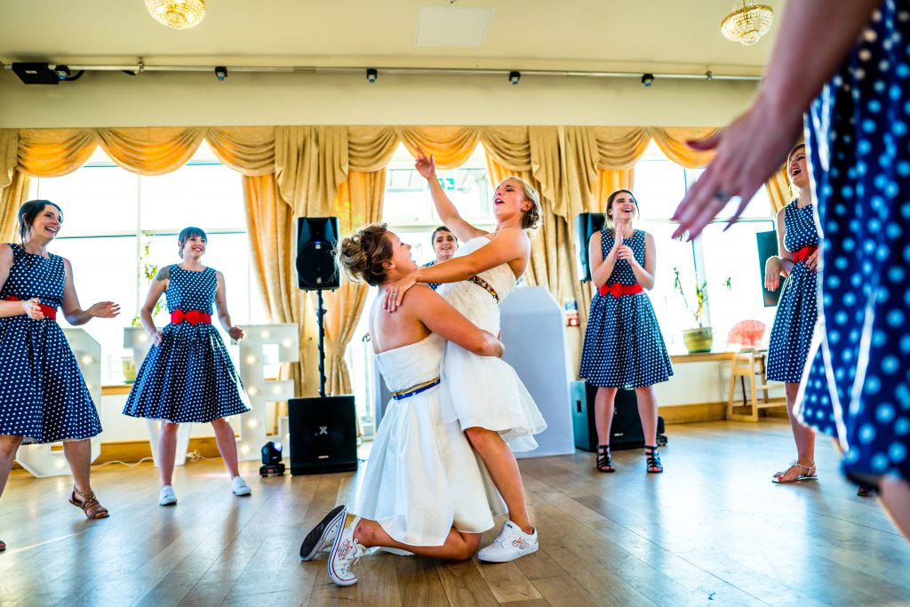 bride and brides first dance at the grand peir weston super mare wedding