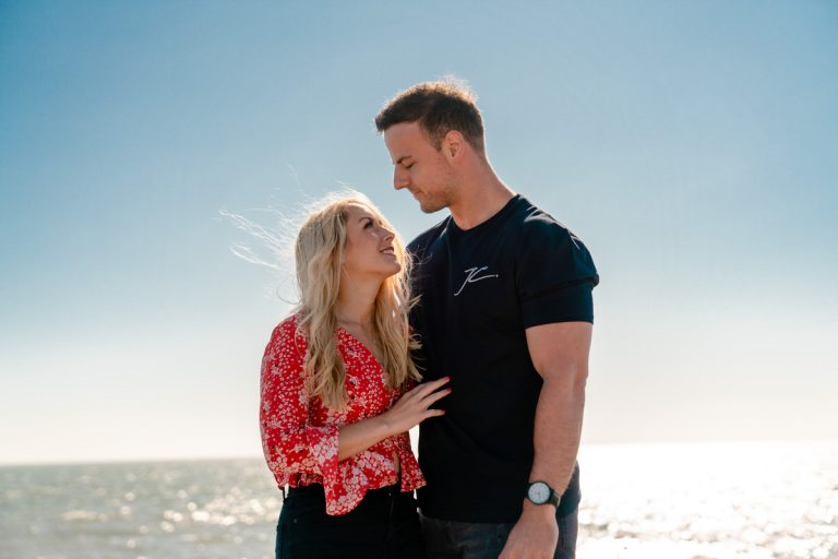 A Windy Ogmore Beach Engagement Shoot with Laura and James