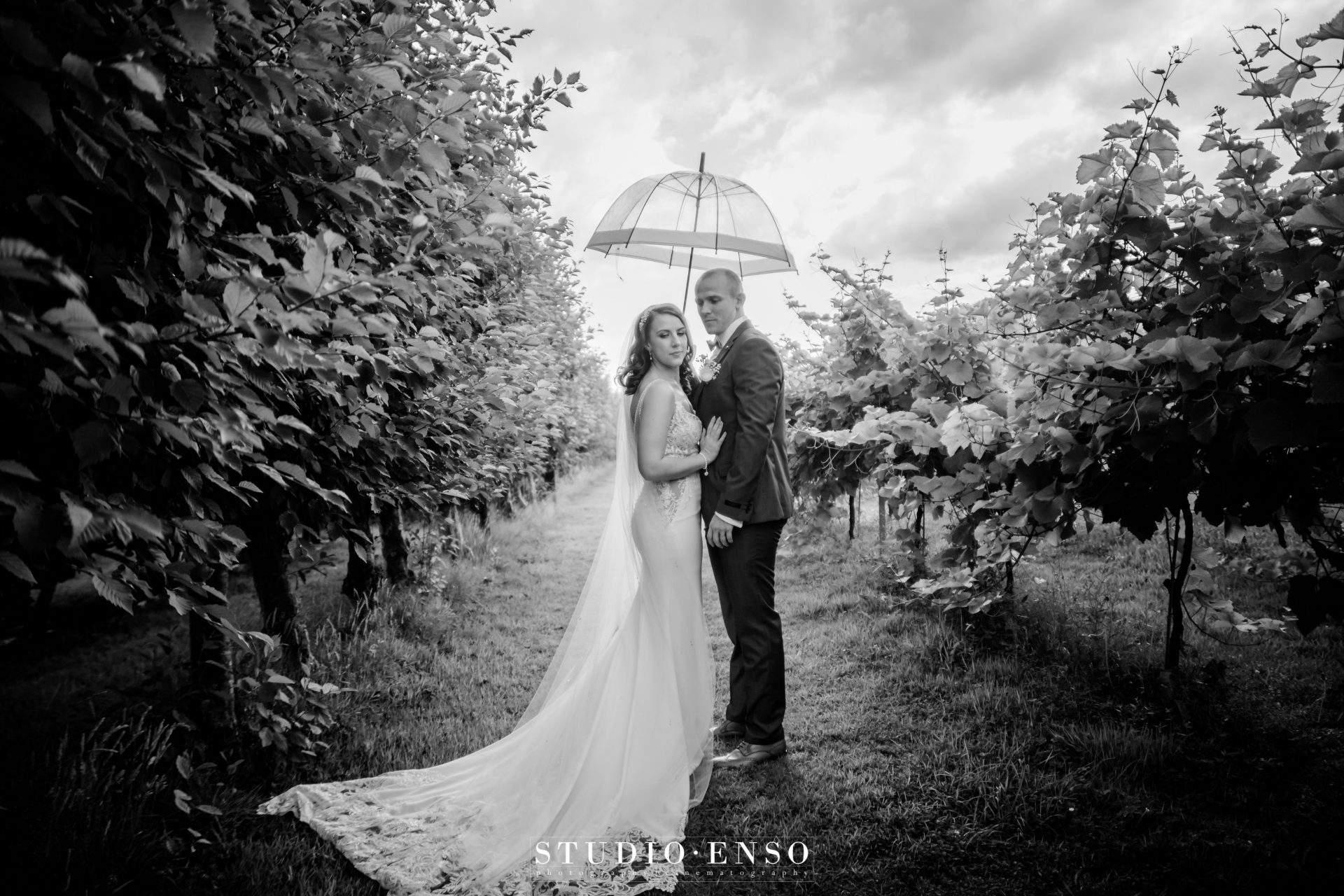 Bride and Groom under an umbrella on their wedding day at Llanerch Vineyard