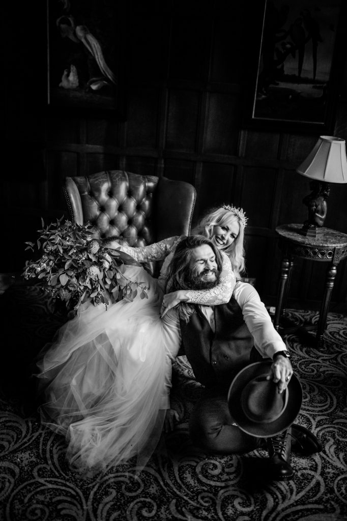 Bride and Groom portrait at Miskin Manor