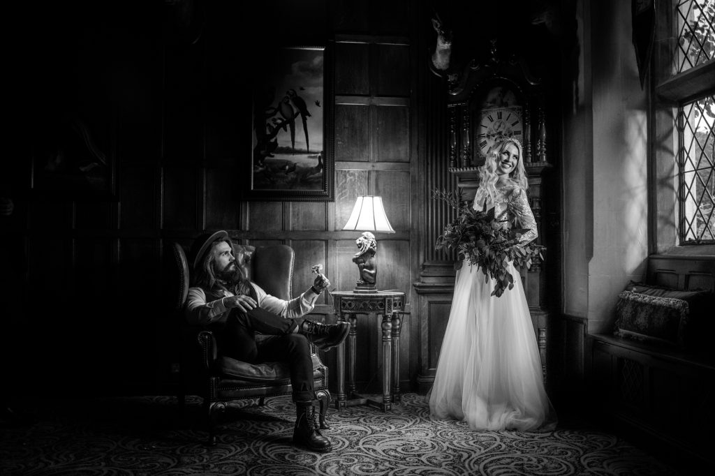 Couple on thier wedding day in Miskin Manor