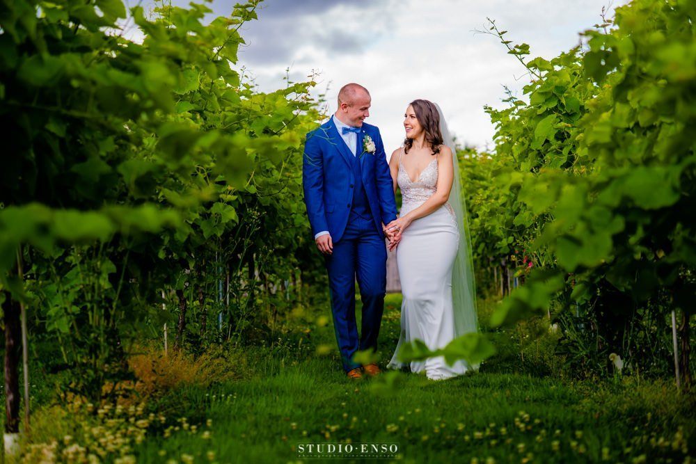 newly married couple on their wedding day walking through the vineyards at Lanerch Vineyard